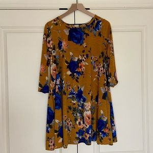 Yellow Floral Dress with 3/4 Sleeves